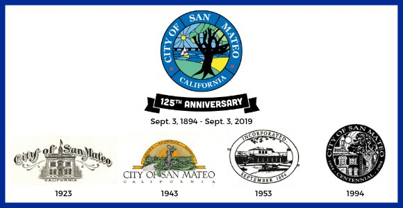 San Mateo City logos over the years