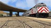 Rendering of Caltrain and train tracks