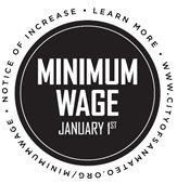 Minimum Wage January 1st circle graphic