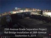 Video screenshot of the rail bridge installation