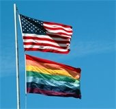 United States and Pride Flags
