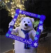Winter Wonderland bear next to lighted tree