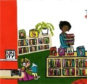Cartoon of a child reading in the library