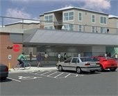 A rendering of the new Hillsdale Caltrain Station