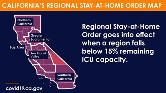 Regional Stay Home Order map