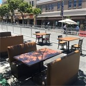 Tables in a parklet