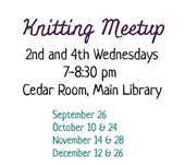 Library Knitting Meetup Flyer