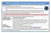 Pending Zoning Administrator Decision