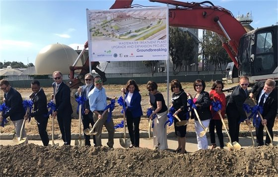 San Mateo Council and staff members break ground at the wastewater plant