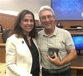 Mayor Diane Papan and George Musante