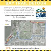 Map of Bay Trail detour route