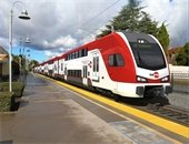 Rendering of an electrified Caltrain