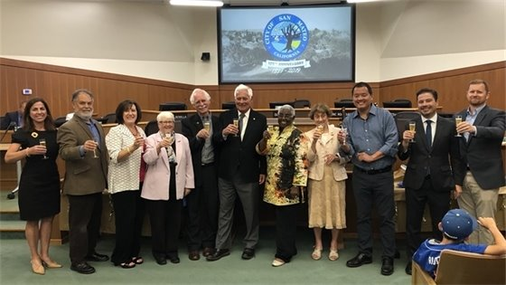 Current and former council members during anniversary celebration at city hall