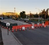 Road closure at Pacific Boulevard