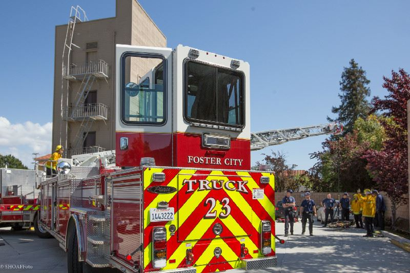 Image of Ladder Truck #23 at training tower