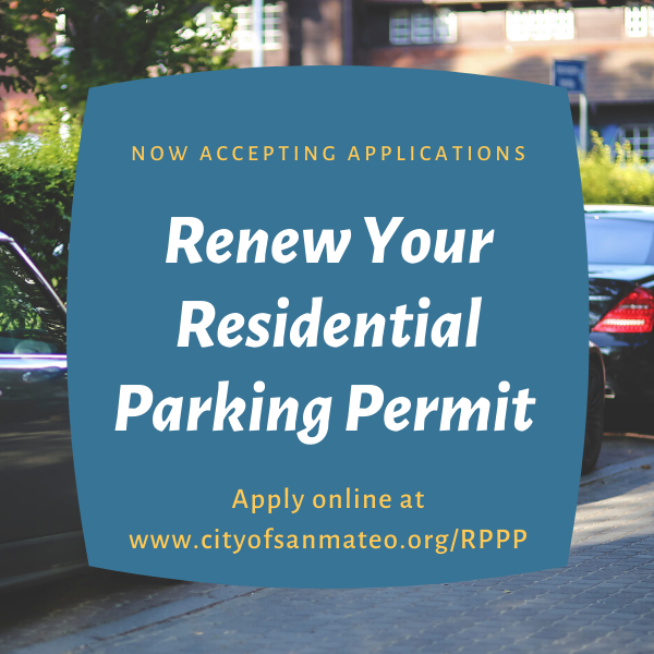 Picture of parked cars, text with renew your permit online