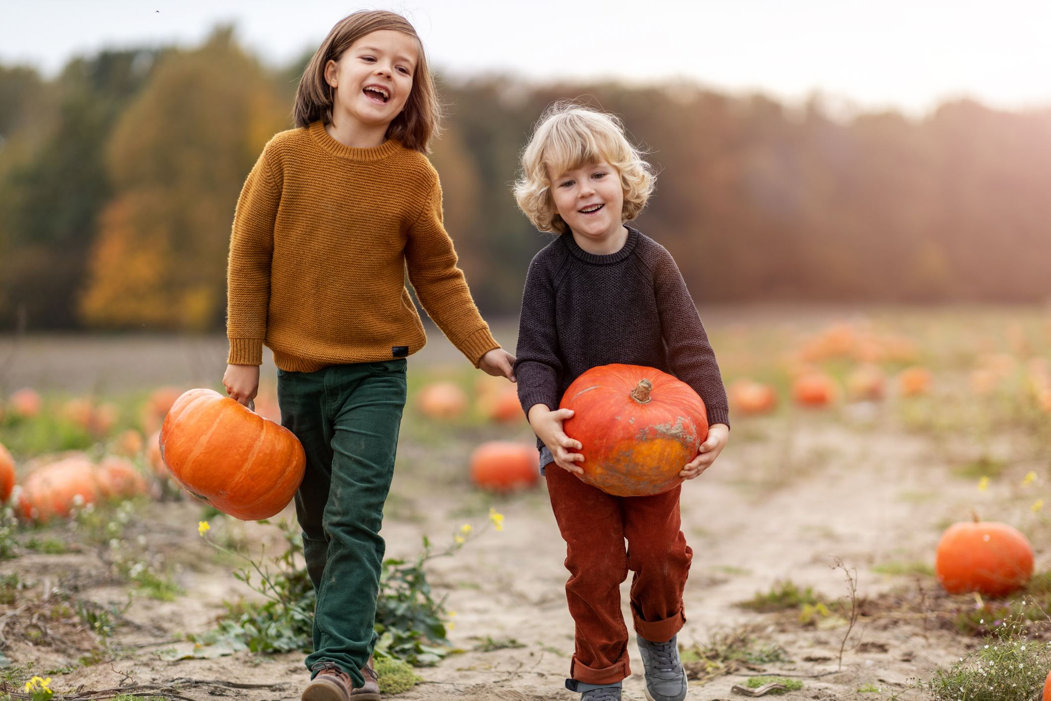 Photo of children holding pumpkins outside.