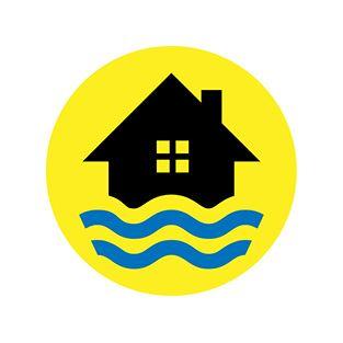 Icon displaying a home with waves
