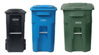 Three different color waste carts