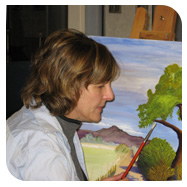 Woman painting a tree